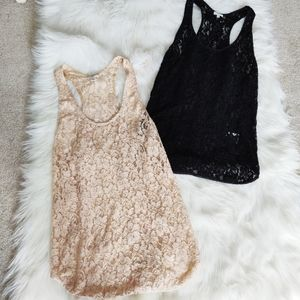 Wilfred Lace Bundle of Two Tank Tops Pink & Black